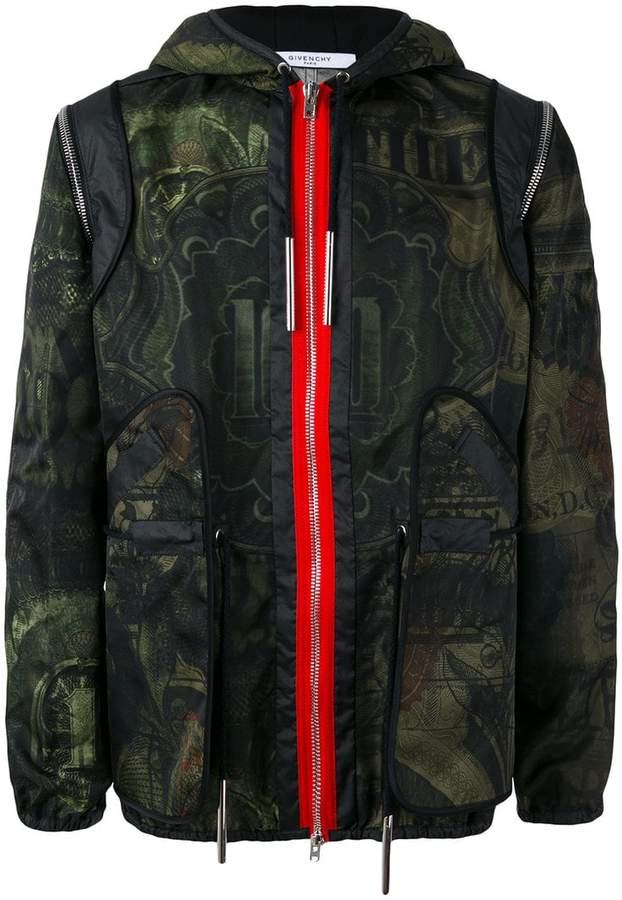 Givenchy dollar print hooded jacket