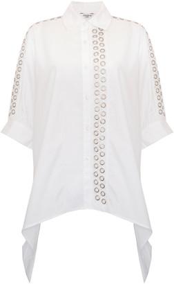 Jovonna London Lanie Shirt Eyelets Oversized White - Small