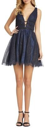 Mac Duggal Sparkle Fit Flare Cocktail Dress
