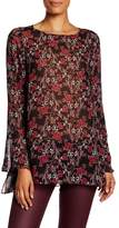 Max Studio Floral Bell Sleeve Blouse
