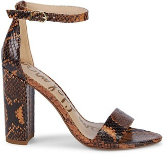Sam Edelman Yaro Embossed-Snakeskin Leather Ankle-Strap Sandals