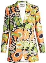 Gucci Floral-print wool-blend blazer
