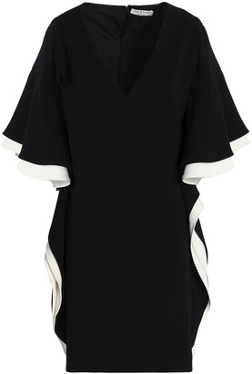 Halston Ruffled Crepe Mini Dress
