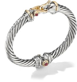 David Yurman 7mm Cable Buckle Bracelet w/ Garnet & 18k Gold