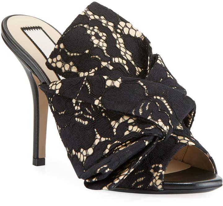 5d185a8060f No. 21 Lace Bow Slide Sandals