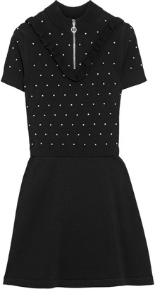 RED Valentino Ruffle-trimmed Studded Pointelle-knit Mini Dress