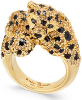 Kate Spade Gold-Tone Yellow Pavandeacute; and Jet Stone Cheetah Ring
