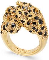 Kate Spade Gold-Tone Yellow Pavé & Jet Stone Cheetah Ring