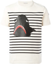 Moncler striped shark print T-shirt - men - Cotton/Lamb Skin - L