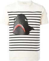 Moncler striped shark print T-shirt - men - Cotton/Lamb Skin - S
