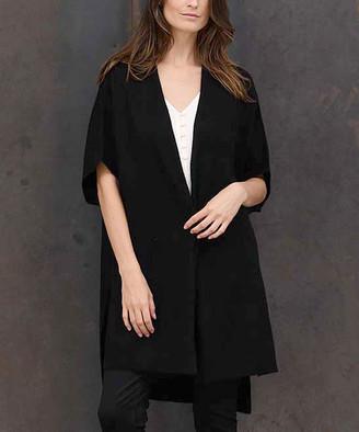 Colour Works by In Cashmere Women's Cardigans Black - Black Open Hi-Low Cashmere Cardigan - Women