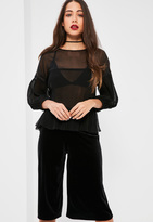 Missguided Petite Exclusive Black Sheer Pleated Blouse