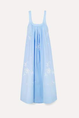 Stella McCartney Oversized Embroidered Cotton-poplin Maxi Dress - Blue