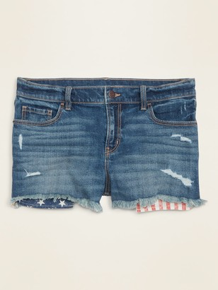 Old Navy Mid-Rise Distressed Americana-Pocket Boyfriend Jean Cut-Off Shorts for Women -- 2.5-inch inseam
