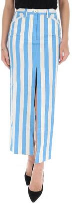 Sunnei Striped Maxi Denim Skirt