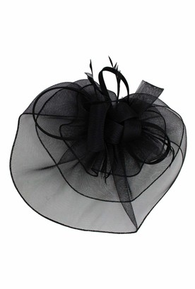 Finecy In - Large Feather Flower Hair Hat Fascinator Headband Clip Wedding Royal Ascot Race (Black)