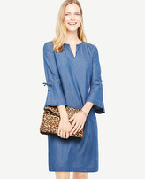 Ann Taylor Petite Chambray Bell Sleeve Dress