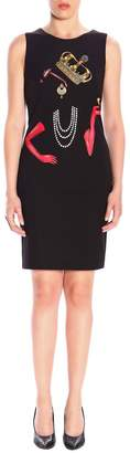 Moschino Sleeveless Tube Dress With Queen Pattern