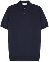 John Smedley Navy Fine-knit Wool Polo Shirt