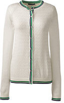 Classic Women's Petite Supima Pointelle Cardigan Sweater-Ivory