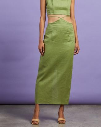 Dazie - Women's Green Midi Skirts - Riviera Linen Midi Skirt - Size 6 at The Iconic
