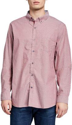Report Collection Men's Star Flower Long-Sleeve Sport Shirt