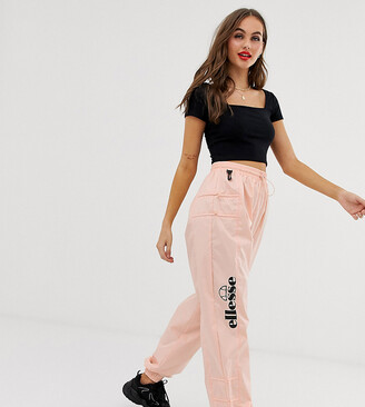 Ellesse recycled tracksuit bottoms with side logo and toggles-Pink