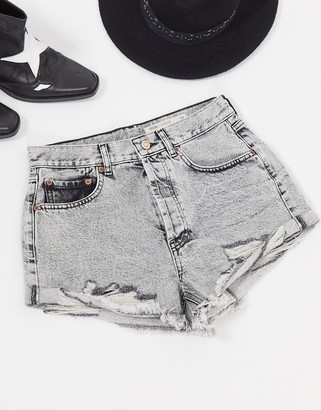 ASOS DESIGN denim mid rise relaxed ripped shorts in grey