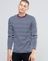 Fred Perry Long Sleeved Breton Stripe T-shirt In French Navy