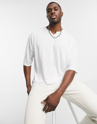 Asos DESIGN oversized t-shirt with notch neck in white linen mix