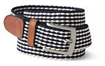 Classic Men's Stripe Elastic Braid Belt Navy Stripe