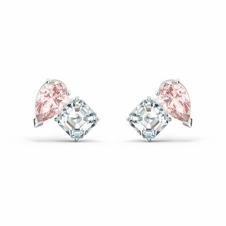 Swarovski Attract Soul Stud Earrings with Pink and White Crystals and Rhodium Plated Metal a Part of the Attract Soul Collection