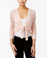 OhMG! Juniors' Pointelle-Knit Tie-Front Shrug