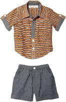 Masala Baby 2 Piece Neat Shirt Set (Baby) - Canvas Stripe-18-24 Months