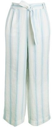Frame Striped Linen Wide-Leg Pants
