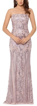 Betsy & Adam Strapless Sequin Gown
