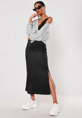 Missguided Black Satin Bias Cut Midi Slip Skirt