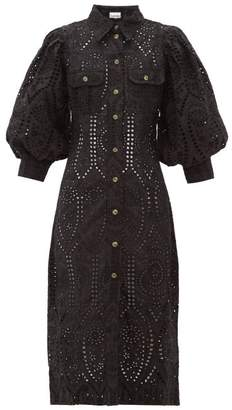 Ganni Balloon-sleeve Broderie-anglaise Cotton Shirtdress - Womens - Black