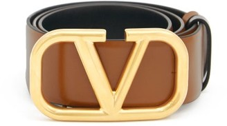 Valentino V-logo Leather Belt - Tan Multi