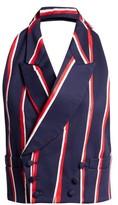 Charles Jeffrey Loverboy Striped Halterneck Cotton-twill Waistcoat - Womens - Navy Multi