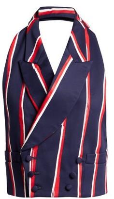 Charles Jeffrey Loverboy Striped Halterneck Cotton Twill Waistcoat - Womens - Navy Multi