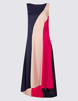 Limited Edition Colour Block Elliptical Hem Midi Dress