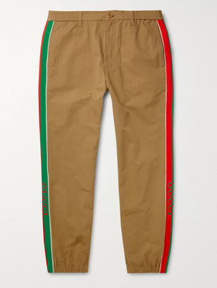 Gucci Slim-Fit Tapered Webbing-Trimmed Cotton-Blend Ripstop Trousers