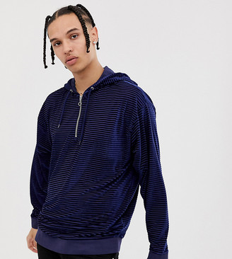ASOS DESIGN Tall Oversized Velour Striped Hoodie With Half Zip