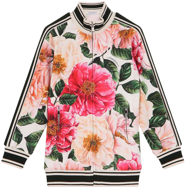 Dolce&Gabbana Junior Girl's Floral-Print Striped Baseball Jacket, Size 4-6