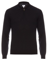 Brioni High-neck Zip-front Wool Sweater