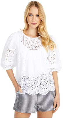 BB Dakota Take A Moment Cotton Eyelet Puff Sleeve Top (Optic White) Women's Clothing