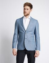 Marks and Spencer Blue Linen Cotton Mix Tailored Fit Jacket