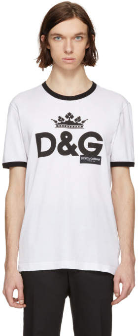 Dolce & Gabbana White Logo Crown T-Shirt