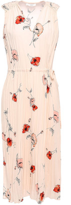 Vince Pleated Floral-print Crepe De Chine Midi Dress